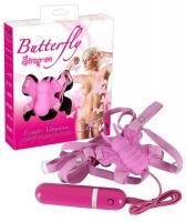 Розовая вибробабочка на регулируемых ремешках BUTTERFLY