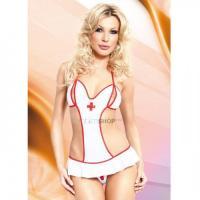 Боди Медсестры Soft Line, бело-красное S/M