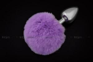 Анальная пробка Пикантные Штучки с фиолетовым пушистым хвостом, серебристая, 6 см