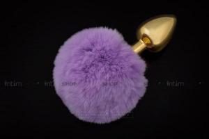 Анальная пробка Пикантные Штучки с фиолетовым пушистым хвостом, золотистая, 6 см