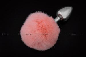 Анальная пробка Пикантные Штучки с розовым пушистым хвостом, серебристая, 6 см