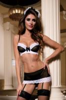 Костюм горничной Candy Girl Amy (бюстгальтер, юбка с пажами, стринги, чулки, головной убор), чёрно-белый, OS